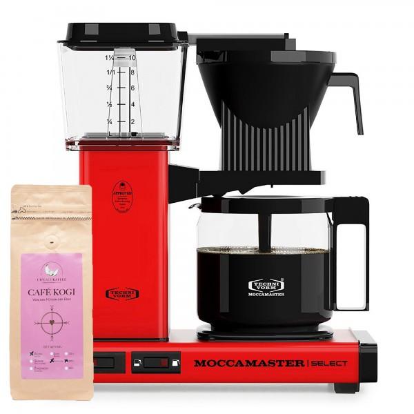 Moccamaster Select Red incl. 250 g CAFÉ KOGI ALUNA
