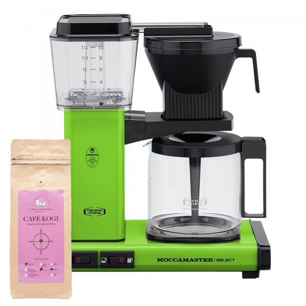 Moccamaster Select Fresh Green incl. 250 g CAFÉ KOGI ALUNA