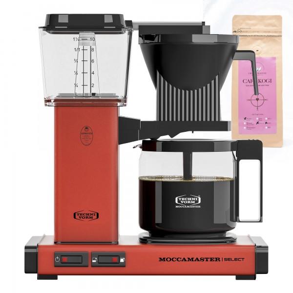 Moccamaster Select Brick Red incl. 250 g CAFÉ KOGI ALUNA