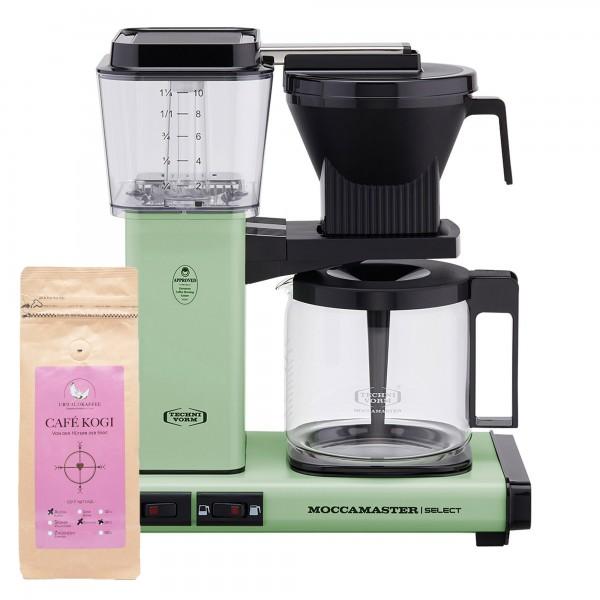 Moccamaster Select Pastel Green incl. 250 g CAFÉ KOGI ALUNA