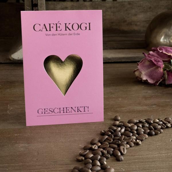 Geschenkgutschein - Faltkarte mit Herz