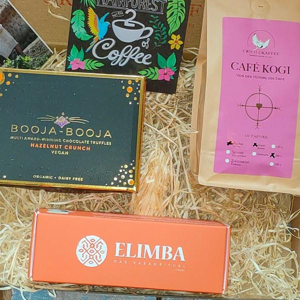 Präsent CAFÉ KOGI + Booja Booja Trüffel (Salzkaramell) + Elimba Kakao 3er